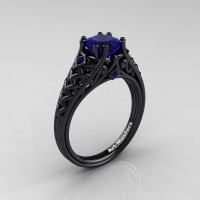 Classic French 14K Black Gold 1.0 Ct Princess Blue Sapphire Lace Engagement Ring Wedding Ring R175P-14KBGBS