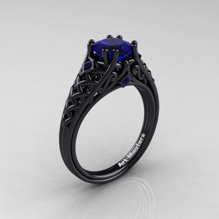 Classic-French-Black-Gold-Princess-Blue-Sapphire-Lace-Bridal-Ring-R175P-BGBS-P