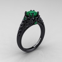 Classic French 14K Black Gold 1.0 Ct Princess Emerald Lace Engagement Ring Wedding Ring R175P-14KBGEM