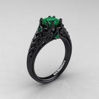 Classic French 14K Black Gold 1.0 Ct Princess Emerald Lace Engagement Ring Wedding Ring R175P-14KBGEM