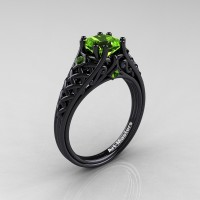 Classic French 14K Black Gold 1.0 Ct Princess Peridot Lace Engagement Ring Wedding Ring R175P-14KBGP