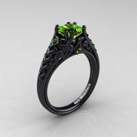 Classic French 14K Black Gold 1.0 Ct Princess Peridot Lace Engagement Ring Wedding Ring R175P-14KBGP