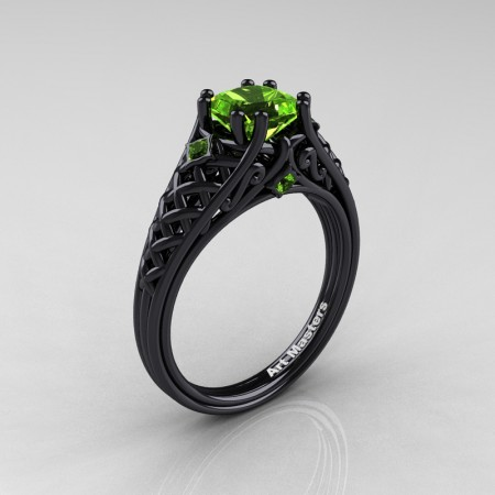 Classic-French-Black-Gold-Princess-Peridot-Lace-Bridal-Ring-R175P-BGP-P