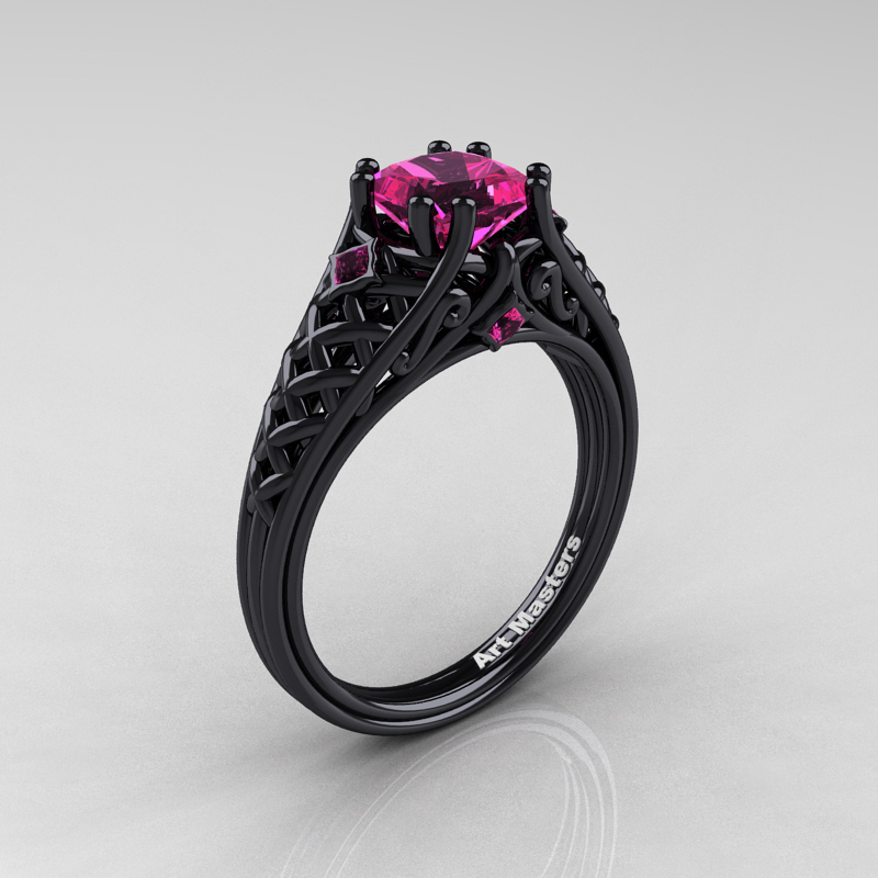 Classic French 14K Black Gold 10 Ct Princess Pink Sapphire Lace
