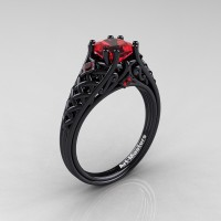Classic French 14K Black Gold 1.0 Ct Princess Ruby Lace Engagement Ring Wedding Ring R175P-14KBGR