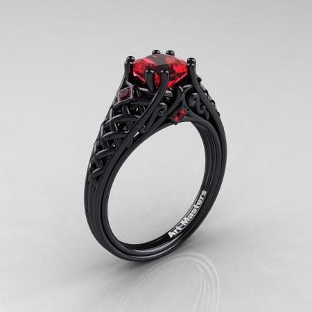 Classic-French-Black-Gold-Princess-Ruby-Lace-Bridal-Ring-R175P-BGR-P