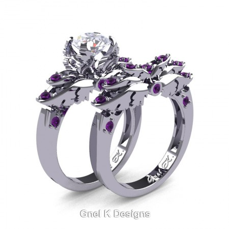 Classic-Angel-14K-White-Gold-1-Ct-White-Sapphire-Amethyst-Solitaire-Engagement-Ring-Wedding-Band-Set-R482S-14KWGDAM-P