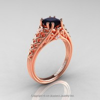 Classic French 14K Rose Gold 1.0 Ct Princess Black and White Diamond Lace Engagement Ring or Wedding Ring R175P-14KRGDBD