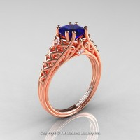 Classic French 14K Rose Gold 1.0 Ct Princess Blue Sapphire Diamond Lace Engagement Ring or Wedding Ring R175P-14KRGDBS
