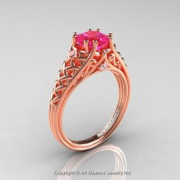 Classic French 14K Rose Gold 1.0 Ct Princess Pink Sapphire Diamond Lace Engagement Ring or Wedding Ring R175P-14KRGDPS
