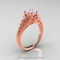Classic French 14K Rose Gold 1.0 Ct Princess White Sapphire Diamond Lace Engagement Ring or Wedding Ring R175P-14KRGDWS