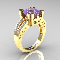 Modern Vintage 14K Yellow Gold 3.0 Carat Light Tanzanite Diamond Solitaire Ring R102-14KYGDLTA