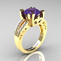 Modern Vintage 14K Yellow Gold 3.0 Carat Tanzanite Diamond Solitaire Ring R102-14KYGDTA