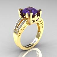 Modern Vintage 14K Yellow Gold 3.0 Carat Tanzanite Diamond Solitaire Ring R102-14KYGDTA