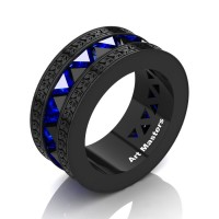 Mens Modern Italian 14K Black Gold Triangle Black Diamond Blue Sapphire Channel Cluster Engraved Wedding Band R777E-14KBGBSBD