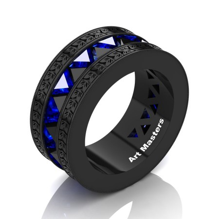 Julius-Caesar-Mens-Modern-14K-Black-Gold-Triangle-Black-Diamond-Blue-Sapphire-Channel-Cluster-Engraved-Wedding-Band-R777E-14KBGEBSBD