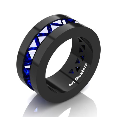 Julius-Caesar-Mens-Modern-14K-Black-Gold-Triangle-Blue-Sapphire-Channel-Cluster-Wedding-Band-R777-14KBGBS