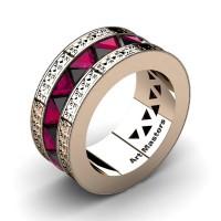 Mens Modern Italian 14K Rose Gold Triangle Black Diamond Rose Ruby Channel Cluster Engraved Wedding Band R777E-14KRGRRBD