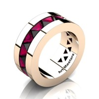 Mens Modern 14K Rose Gold Triangle Black Diamond Rose Ruby Channel Cluster Wedding Band R777-14KRGRRBD