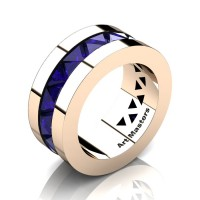 Mens Modern 14K Rose Gold Triangle Blue Sapphire Channel Cluster Wedding Band R777-14KRGBS