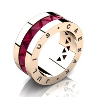Julius Caesar 14K Rose Gold Triangle Rose Ruby Channel Cluster Signature Wedding Band R777JCS-14KRGRR