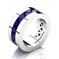 Mens Modern 14K White Gold Triangle Blue Sapphire Channel Cluster Wedding Band R777-14KWGBS