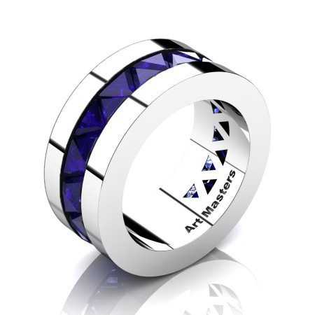 Julius-Caesar-Mens-Modern-14K-White-Gold-Triangle-Blue-Sapphire-Channel-Cluster-Wedding-Band-R777-14KWGBS