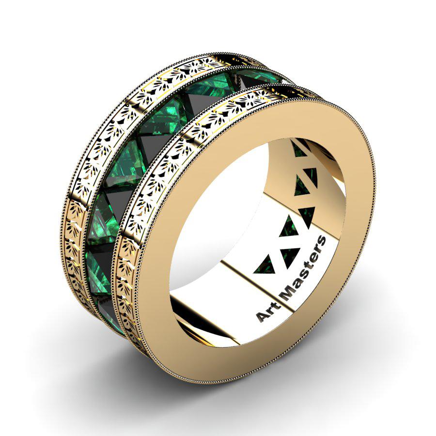 Emerald Wedding Band.Mens Modern Italian 14k Yellow Gold Triangle Black Diamond Emerald Channel Cluster Engraved Wedding Band R777e 14kygembd