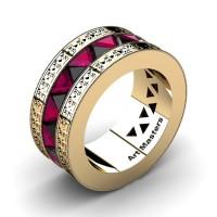 Mens Modern Italian 14K Yellow Gold Triangle Black Diamond Rose Ruby Channel Cluster Engraved Wedding Band R777E-14KYGRRBD