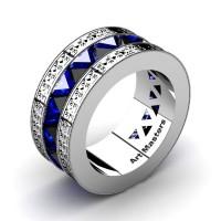 Mens Modern Italian 950 Platinum Triangle Black Diamond Blue Sapphire Channel Cluster Engraved Wedding Band R777E-PLATBSBD