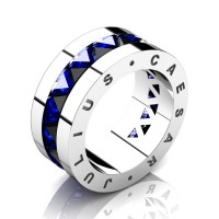 Julius Caesar 950 Platinum Triangle Black Diamond Blue Sapphire Channel Cluster Signature Wedding Band R777JCS-PLATBSBD