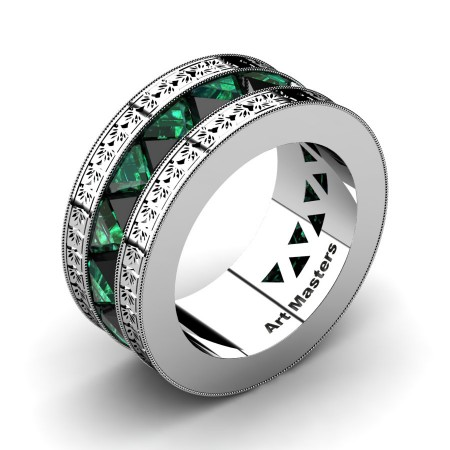 Julius-Caesar-Mens-Modern-950-Platinum-Triangle-Black-Diamond-Emerald-Channel-Cluster-Engraved-Wedding-Band-R777E-PLATEMBD