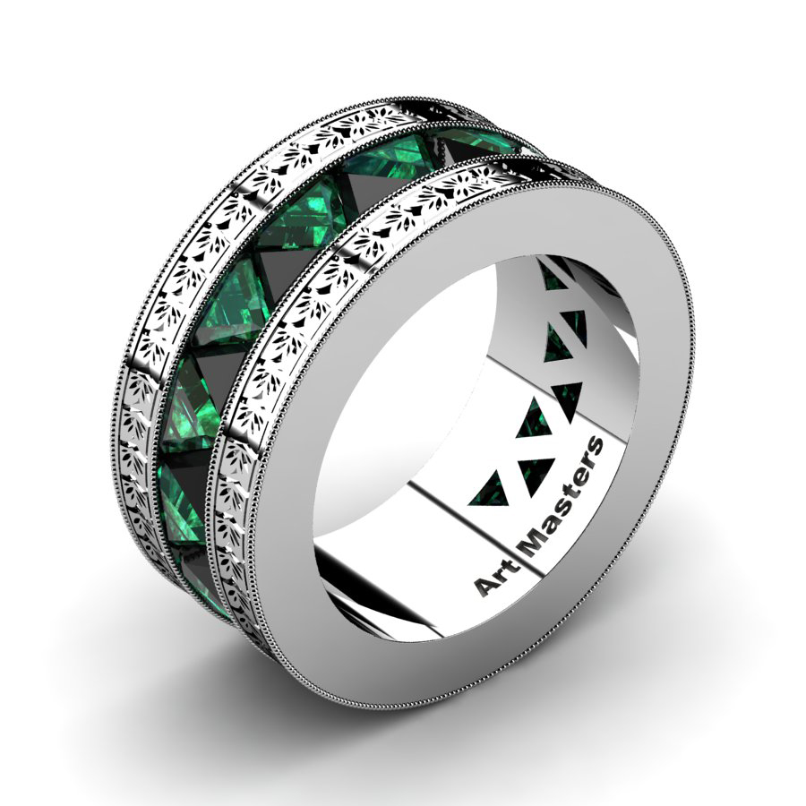 This is a graphic of Mens Modern Italian 45 Platinum Triangle Black Diamond Emerald Channel Cluster Engraved Wedding Band R45E-PLATEMBD
