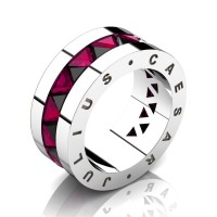 Julius Caesar 950 Platinum Triangle Black Diamond Rose Ruby Channel Cluster Signature Wedding Band R777JCS-PLATRRBD