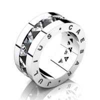 Julius Caesar 950 Platinum Triangle Black Diamond White Sapphire Channel Cluster Signature Wedding Band R777JCS-PLATWSBD