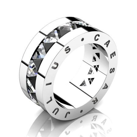 Julius-Caesar-Mens-Modern-950-Platinum-Triangle-Black-Diamond-White-Sapphire-Channel-Cluster-Signature-Wedding-Band-R777JS-PLATWSBD