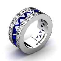 Mens Modern Italian 950 Platinum Triangle Blue Sapphire Channel Cluster Engraved Wedding Band R777E-PLATBS