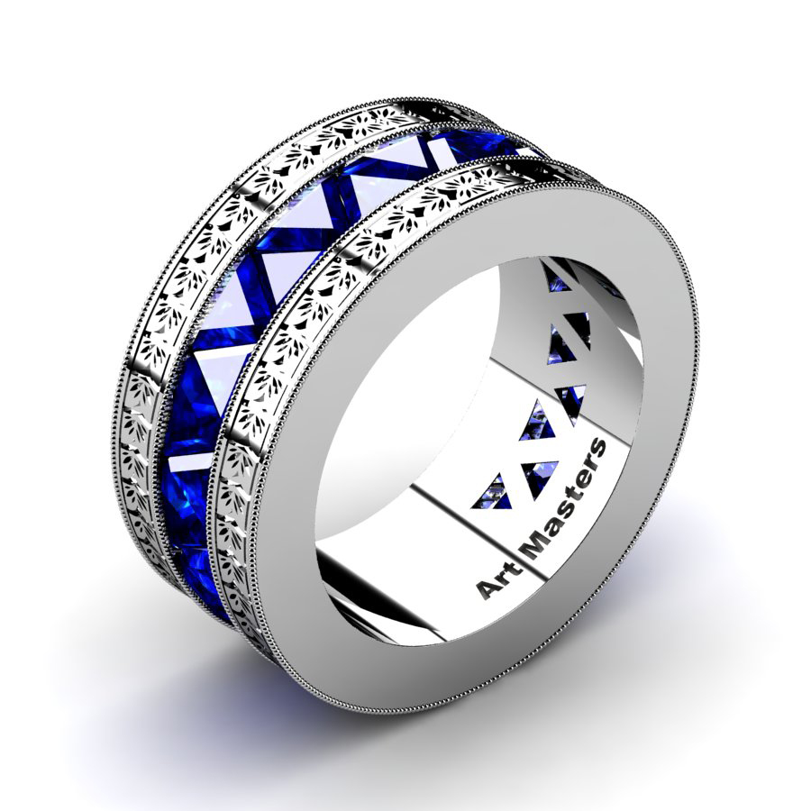This is a picture of Mens Modern Italian 43 Platinum Triangle Blue Sapphire Channel Cluster Engraved Wedding Band R43E-PLATBS
