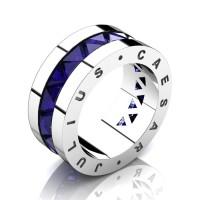 Julius Caesar 950 Platinum Triangle Blue Sapphire Channel Cluster Signature Wedding Band R777JCS-PLATBS
