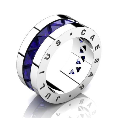 Julius-Caesar-Mens-Modern-950-Platinum-Triangle-Blue-Sapphire-Channel-Cluster-Signature-Wedding-Band-R777JS-PLATBS