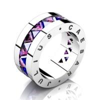Julius Caesar 950 Platinum Triangle Blue and Pink Sapphire Channel Cluster Signature Wedding Band R777JCS-PLATPSBS