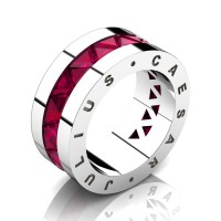 Julius Caesar 950 Platinum Triangle Rose Ruby Channel Cluster Signature Wedding Band R777JCS-PLATRR