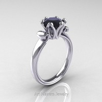 Antique 950 Platinum 1.5 Ct Black Diamond Designer Solitaire Engagement Ring AR127-PLATBD