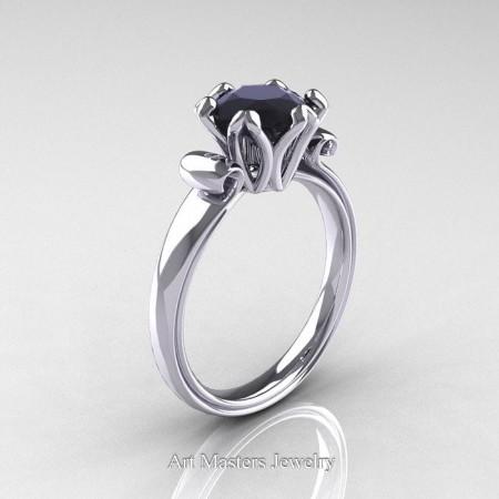 Antique-950-Platinum-Black-Diamond-Solitaire-Ring-AR127-PLATBD