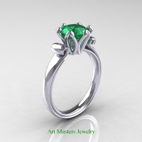 Antique 950 Platinum 1.5 Ct Emerald Designer Solitaire Engagement Ring AR127-PLATEM
