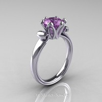 Antique 950 Platinum 1.5 Ct Lilac Amethyst Designer Solitaire Engagement Ring AR127-PLATLAM
