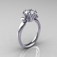 Antique 950 Platinum 1.5 Ct White Sapphire Designer Solitaire Engagement Ring AR127-PLATWS