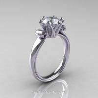 Antique 950 Platinum 1.5 Ct White Sapphire Designer Solitaire Engagement Ring AR127-PLATWS