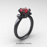 Antique 14K Black Gold 1.5 Ct Ruby Designer Solitaire Engagement Ring AR127-14KBGR