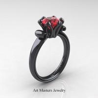Antique 14K Black Gold 1.5 Ct Ruby Designer Solitaire Engagement Ring AR127-14KBGR